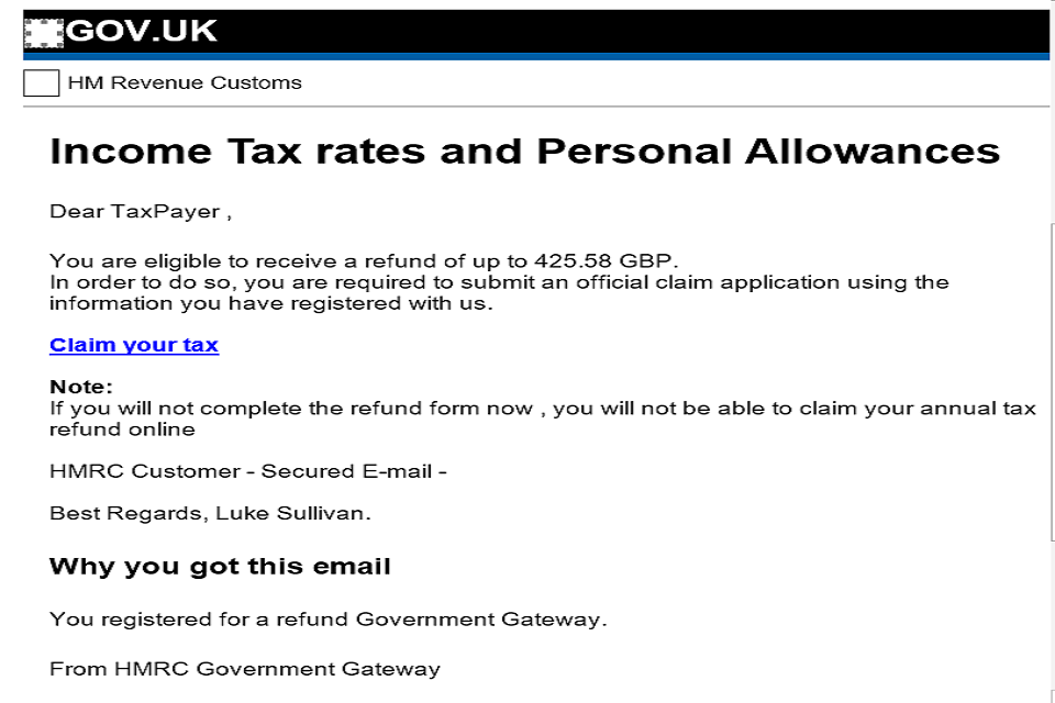 HMRC tax scam - email example