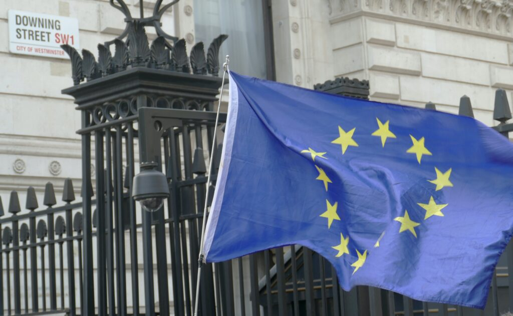 VAT and Brexit: an EU flag outside Downing Street